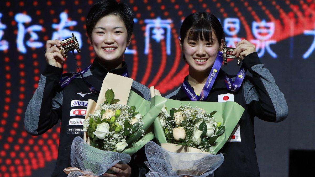 写真:2019年に女子ダブルスで優勝した木原美悠(左)・長﨑美柚/提供:ittfworld